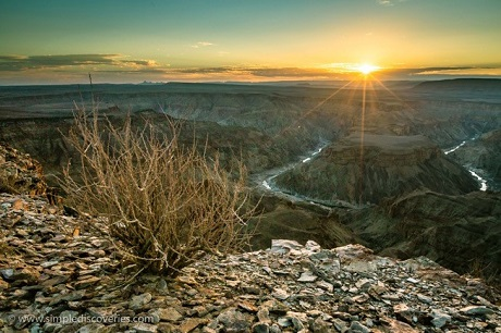 The final rays of sun above Fish River Canyon on our first full day in Namibia.