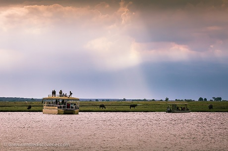 A pontoon boat safari, not unlike ours, on the Chobe River.