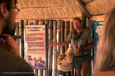 Ian Harmer of African Wanderer Safaris shares with us the rhino's plight – next to the skull of a poached rhino.