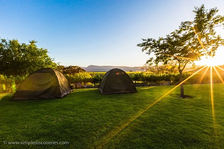 Sunrise at our tented camp at Highlander's Camp, South Africa.