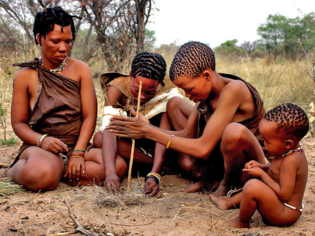 Making Fire San Tribe Namibia