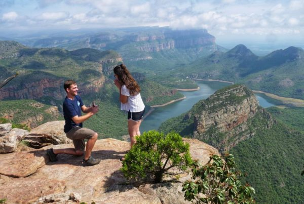Levi Umena surprising Megan Hayward with a January proposal, 19KTCT20, Three Rondavels, Panorama Route, South Africa (c) Acacia Africa