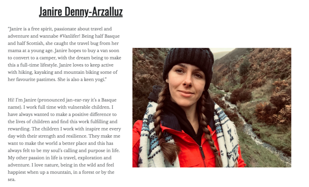 Travel Enthusiast and blogger Janire Denny-Arzalluz picture and bio. Camping Overland Adventure